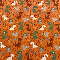 Estampado Dinosaurios fondo Naranja (Punto de Camiseta)