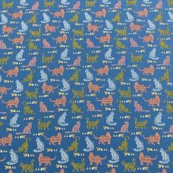 Estampado Gatos fondo Azul Jeans (Punto de Sudadera Invierno)