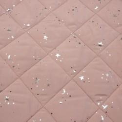 Acolchado Doble Cara con Estrellas Foil fondo Rosa Palo